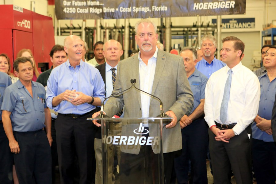 Don York, President of Hoerbiger along with Governor Rick Scott today during the announcement. - Photos by Jim Donnelly