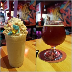 Lucky Charms Cereal Milkshake and a Gourdita Ale on the right