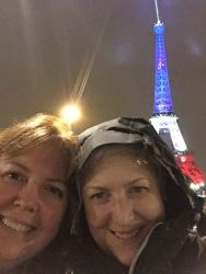 Debra Edhlund and Lisa Turocey in front of the Eiffel Tower