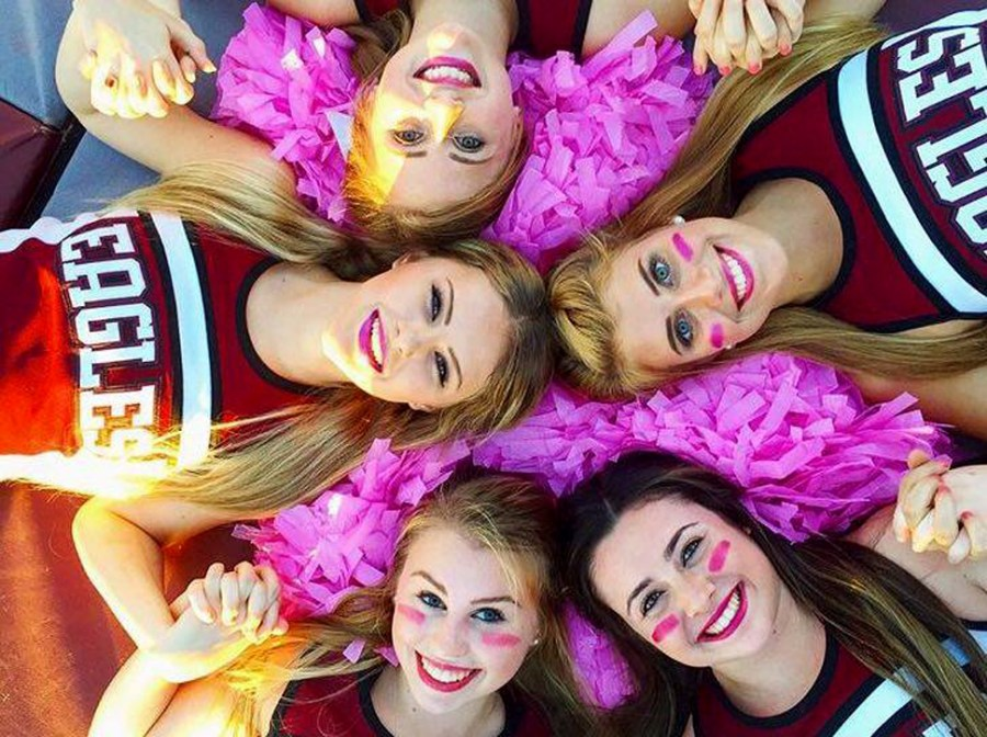 Marjory Stoneman Douglas Cheerleaders. Clockwise starting Left: Stephanie Taylor, Emma Rothenberg, Victoria Hinton, Jordan Kelton and Brittany Bolger on the bottom. - Submitted Photo.