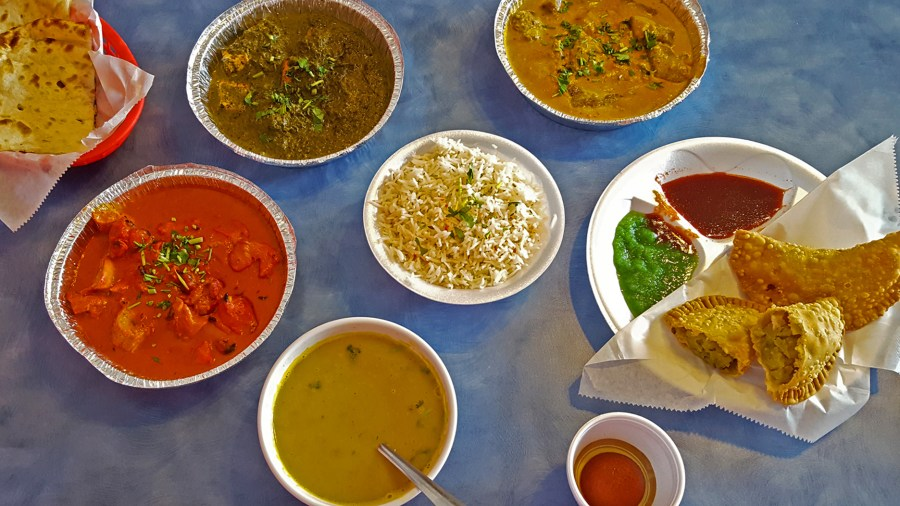 Assortment of food from Indian Kichen