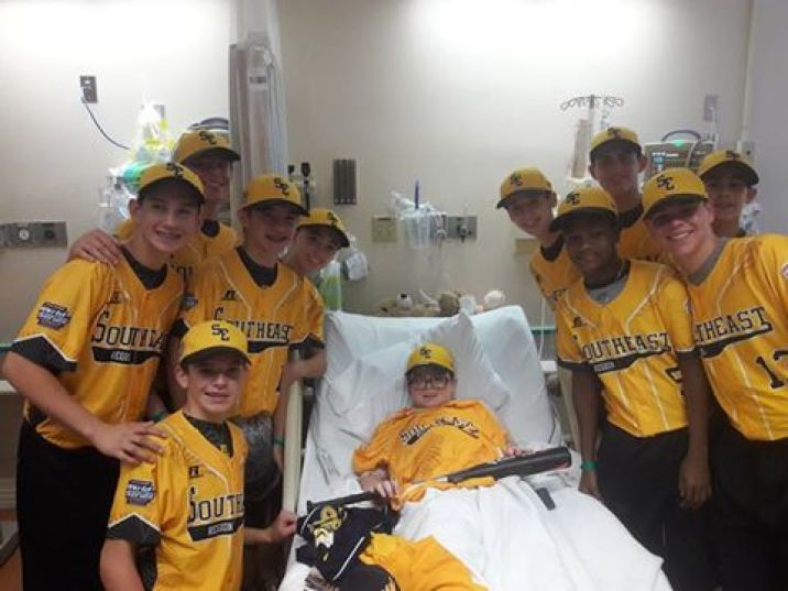 Parkland Little League players visit Michael Weiner in the hospital while he's recovering from injuries from being hit by a man driving a stolen vehicle.