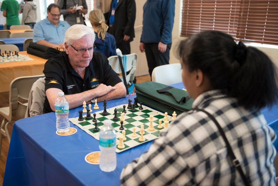 Mayor Skip Campbell at the Mayor's Chess Challenge