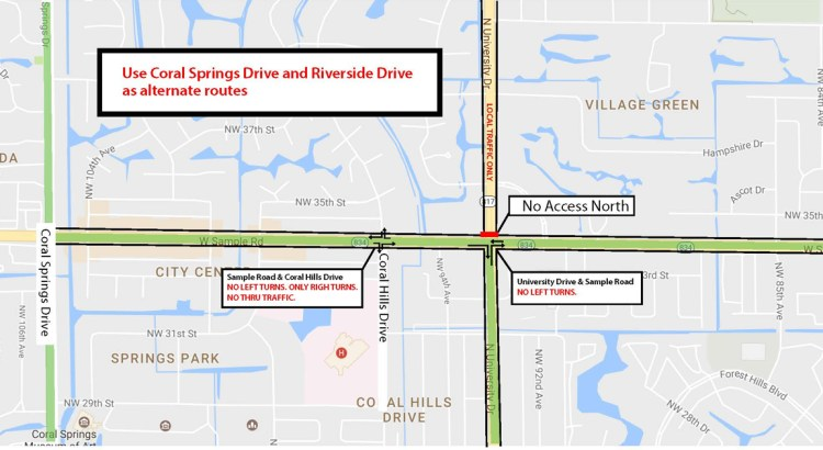 Improvement Project Moves to the Sample Road and University Drive Intersection