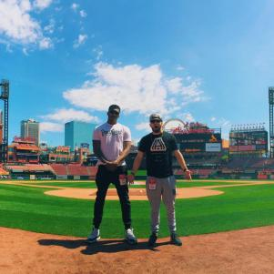 Lecrae and Andy Mineo Visit Busch Stadium in St. Louis. They would play a concert at the Fox Theatre that evening.