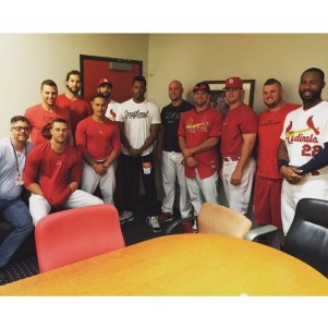 While in St. Louis Lecrae and Andy Mineo visited Busch Stadium where Lecrae led some of the Cardinals in devotions.