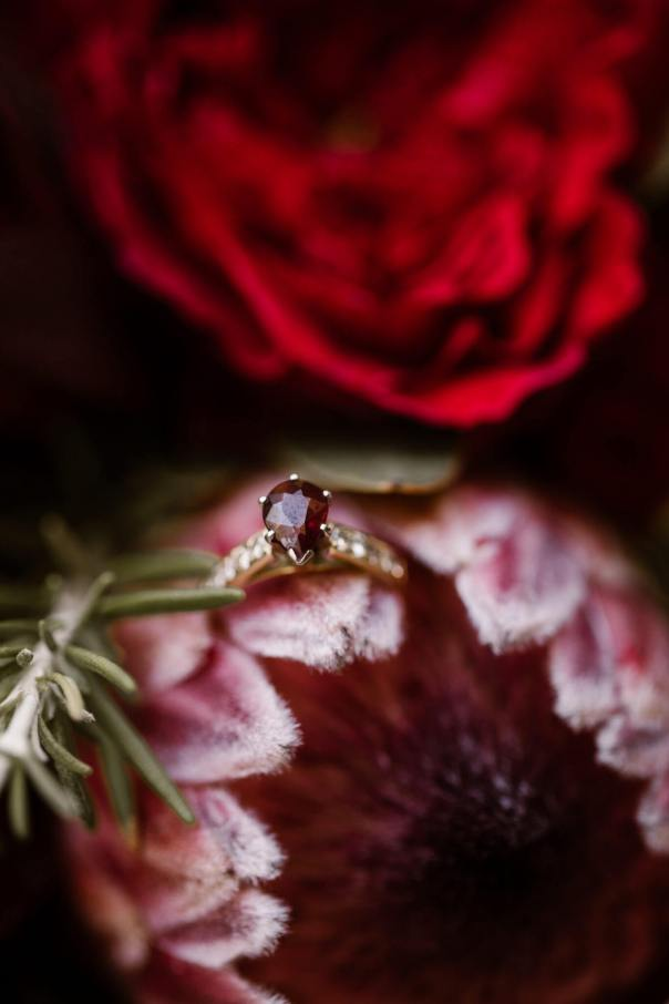 Ruby Wedding Ring and Bright Bouquet