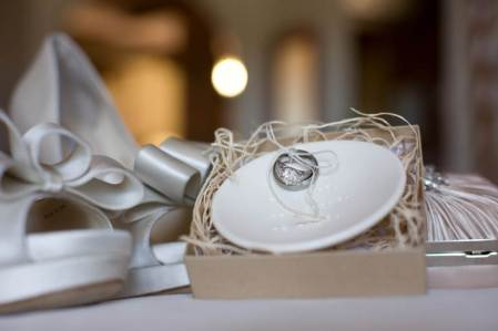 Wedding Ring Display with Bridal Peep Toe Heels and Clutch