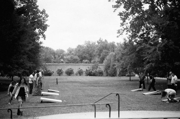 Guests Enjoy a Round of Cornhole after the Ceremony