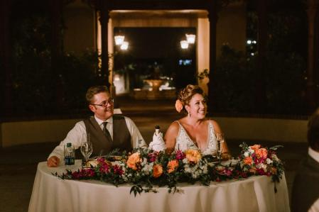 The Bride and Groom at Their Sweetheart Table