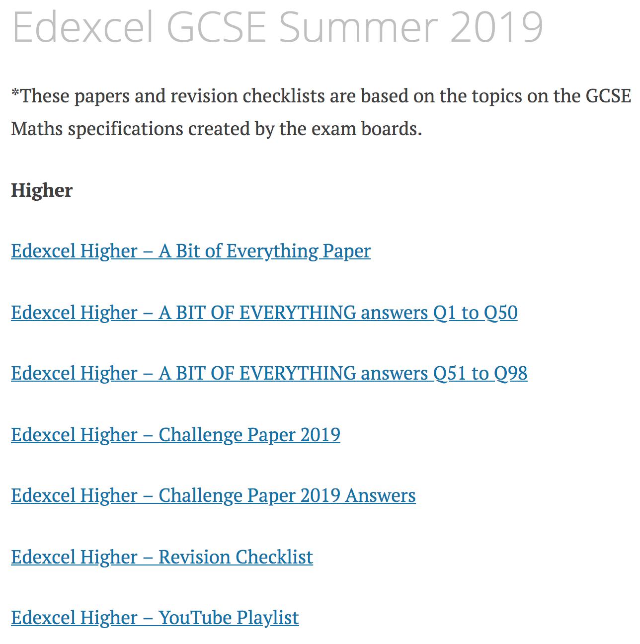 Edexcel GCSE Summer 2019 – Corbettmaths
