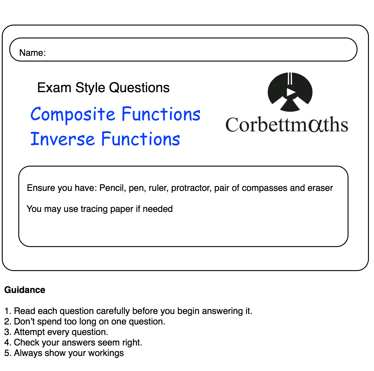 Functions Practice Questions – Corbettmaths Throughout Composite Function Worksheet Answers