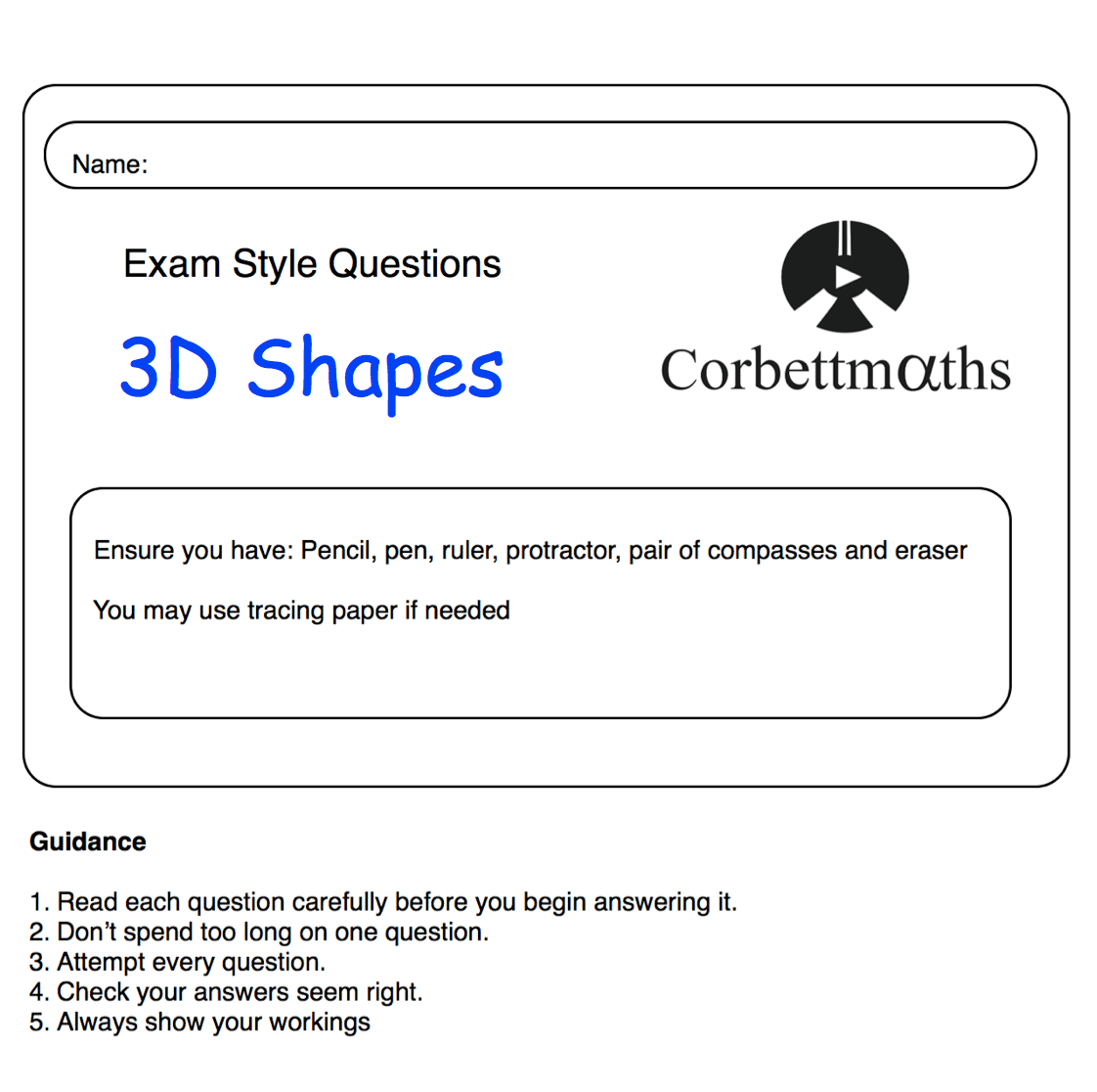 hight resolution of 3D Shapes Practice Questions – Corbettmaths
