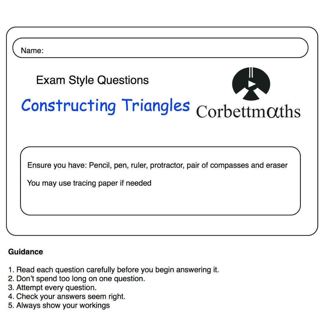 Constructing Triangles Practice Questions – Corbettmaths [ 1118 x 1116 Pixel ]