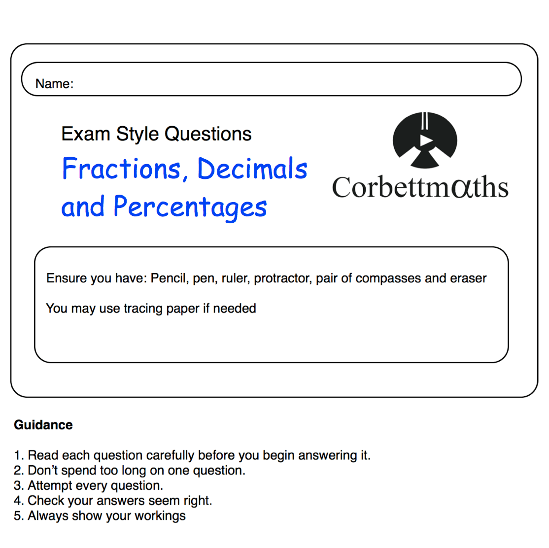 - Fractions, Decimals And Percentages Practice Questions – Corbettmaths
