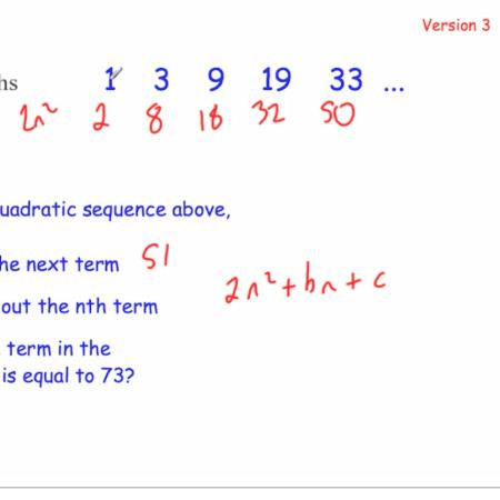 quadratic sequences – Corbettmaths