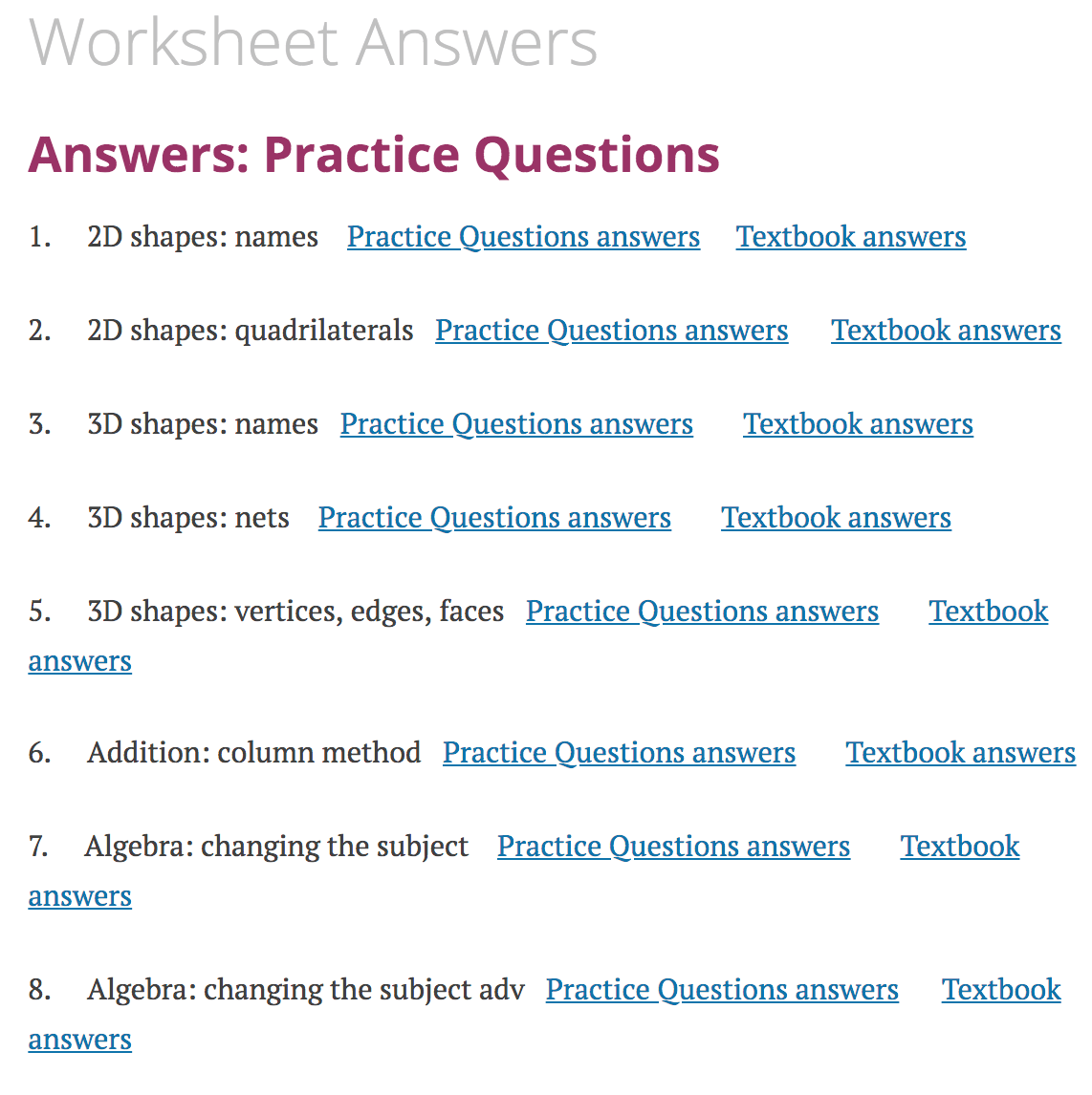 hight resolution of Worksheet Answers – Corbettmaths