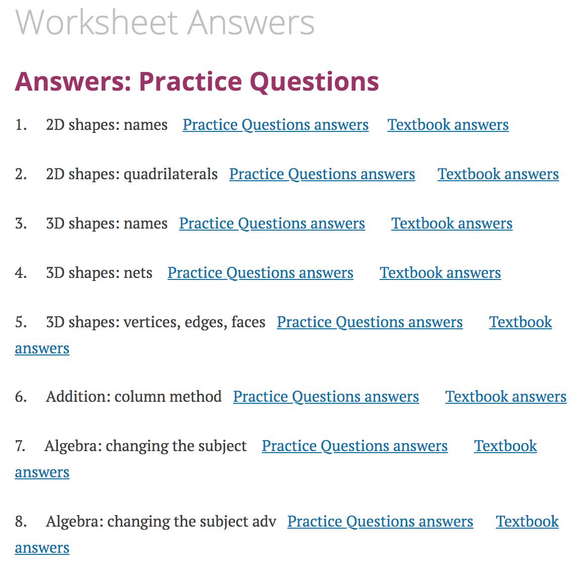 hight resolution of Worksheet Answers – Corbettmaths