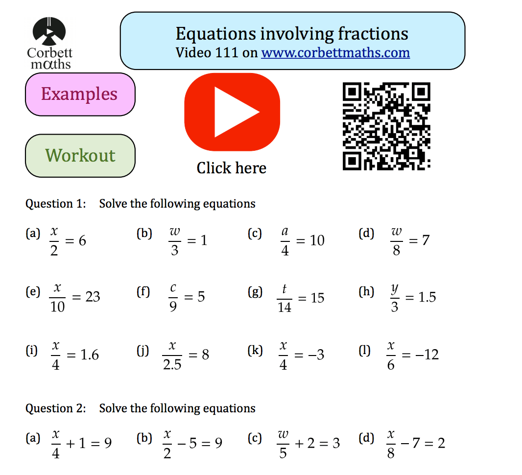 Equations Involving Fractions Textbook Exercise – Corbettmaths