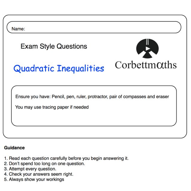 Quadratic Inequalities Practice Questions Corbettmaths