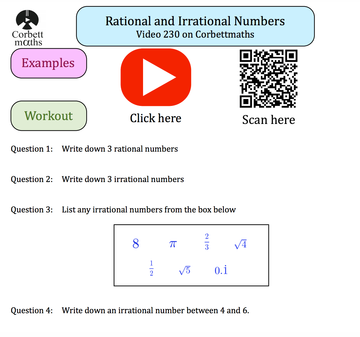 Rational and Irrational Numbers Textbook Exercise – Corbettmaths In Rational Irrational Numbers Worksheet