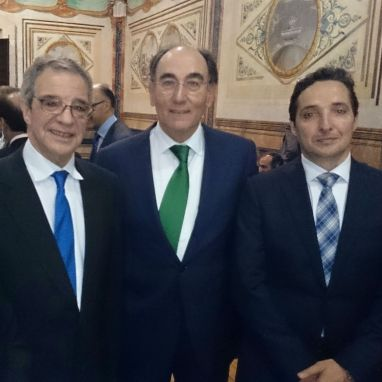 Con los presidentes de Iberdrola,Ignacio Sánchez Galán, y Telefónica, César Alierta