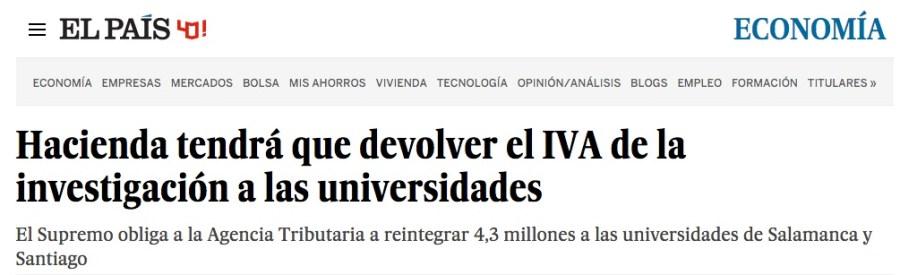 El País - Hacienda tendrá que devolver el IVA de la investigación a las universidades
