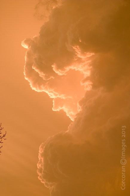 Orange billowing clouds