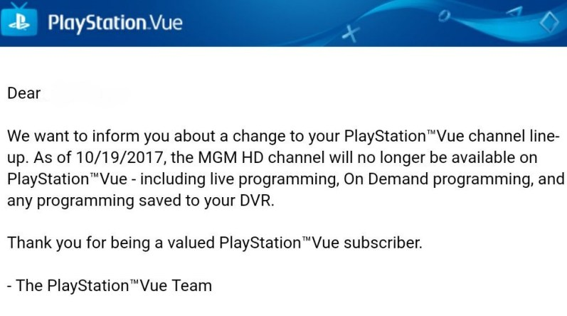 PlayStation Vue is Dropping The MGM HD Channel - Cord