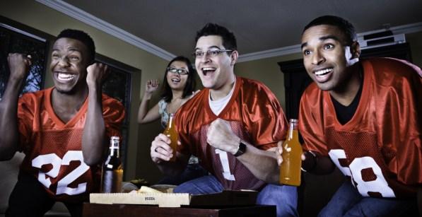 friends watching football on TV