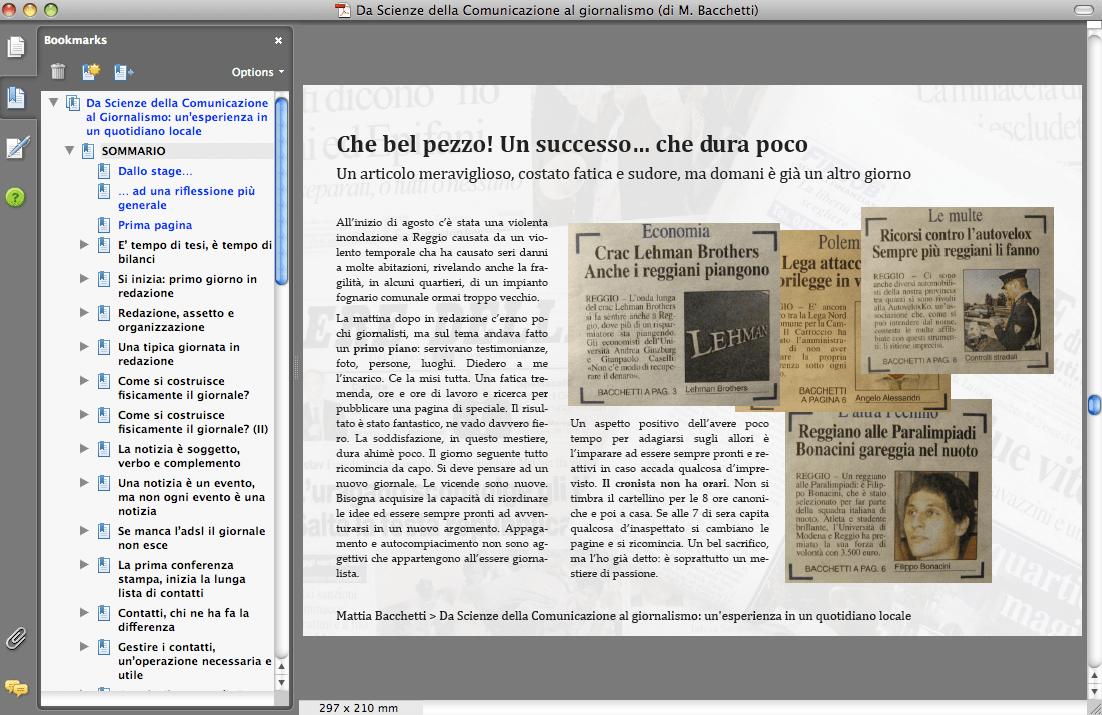 Mattia Bacchetti > Da Scienze della Comunicazione al giornalismo > schermata