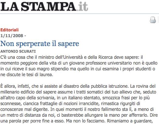 A. Scurati, Non sperperate il sapere, La Stampa, 1.11.2008