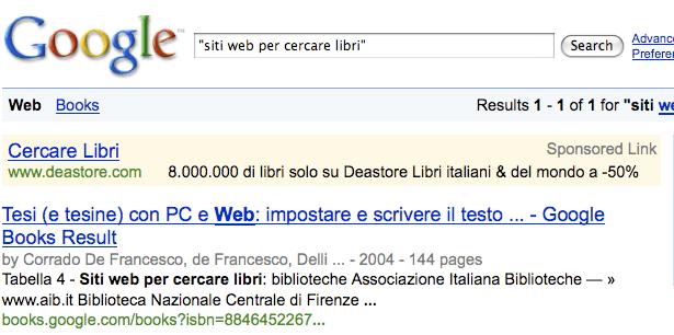 """Google > ricerca di """"siti web per cercare libri"""""""