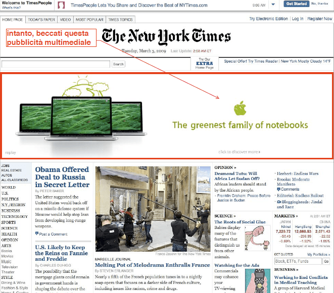 New York Times on-line > 3 marzo 2009 > Homepage
