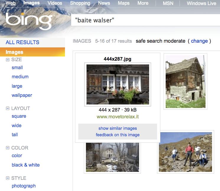"BING > ricerca di immagini > ""baite walser"""
