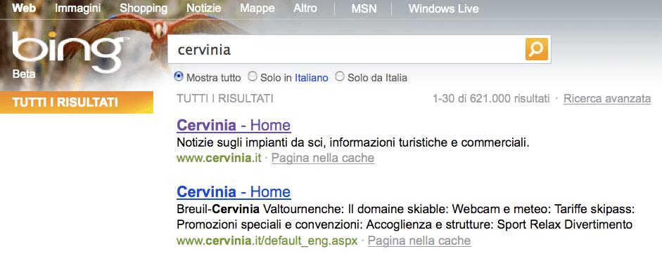 BING > versione italiana