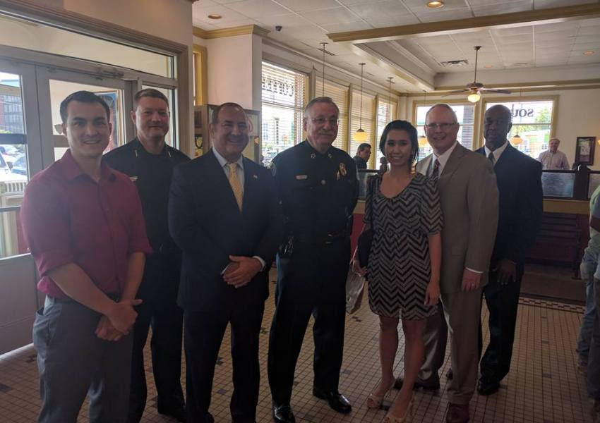 Kay and Matt honor police officers at Shoney's Restaurant in Donelson
