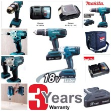 Makita DK18015x2 Twin Set Cordless Hammer Drill and Impact Driver pack with 2 x 18v BL1813G Batteries and 1x DC18WA