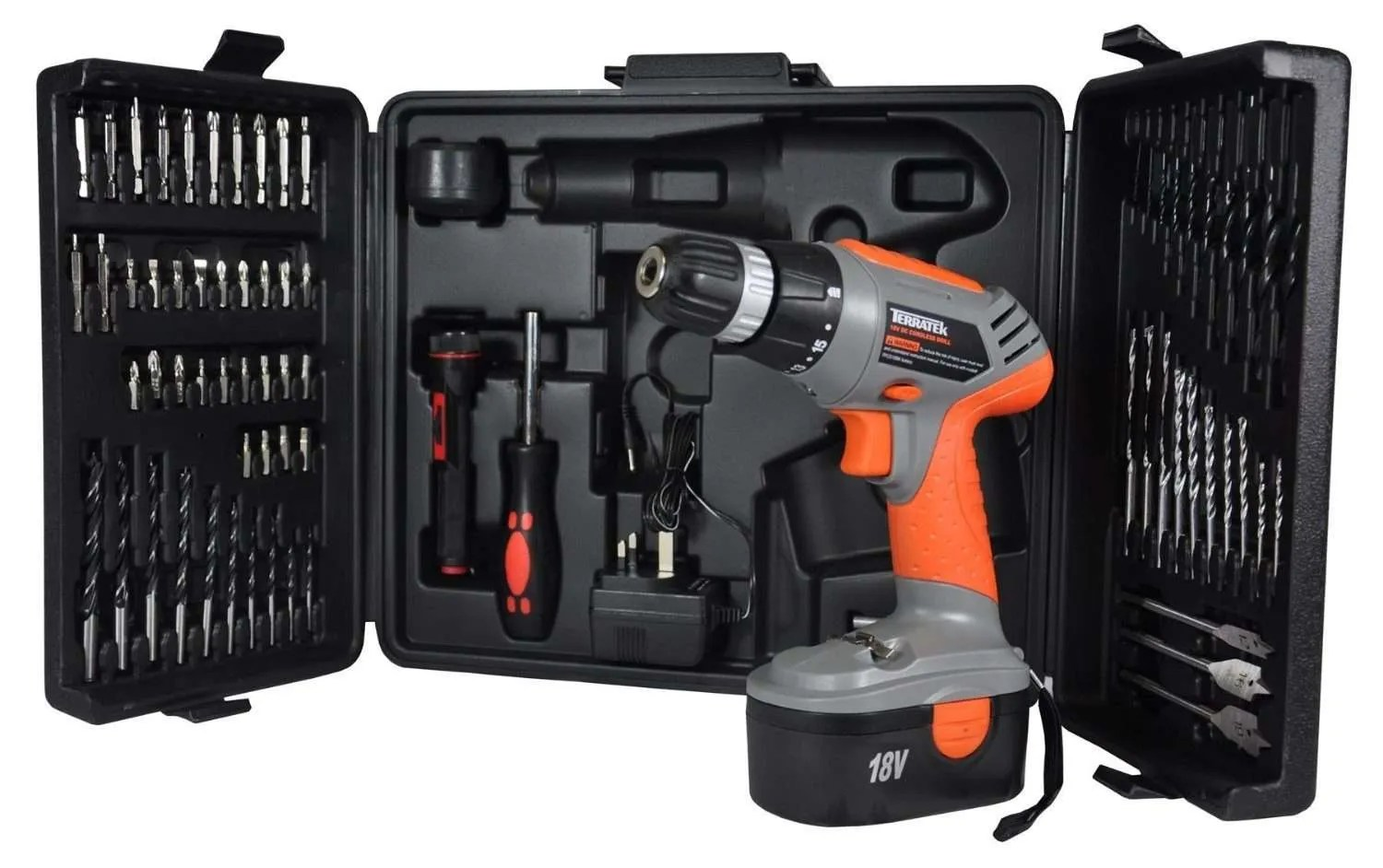 Terratek TT18VKIT 18V Cordless Drill, Electric Screwdriver, Combi Drill Driver, 68pc Rechargeable Drill Set