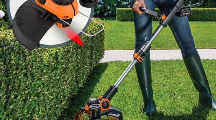 A man using best cordless lawn edger to trim and edge his lawn