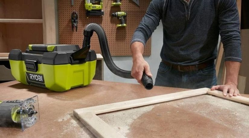 The best cordless shop vac in use to clean debris and other dirt on a work surface