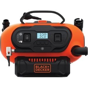 an image representation of BLACK+DECKER 20V MAX Cordless Tire Inflator, Cordless & Corded Power, a great example among the best cordless air compressor family