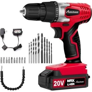An image of Avid Power 20V MAX Lithium Ion Cordless Drill, one of the primary best lightweight cordless drill that will give you the needed power for extended use