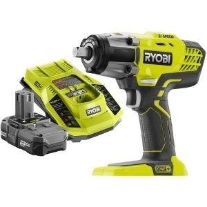 An image of Ryobi P261, one of the primary model among the best cordless impact wrench for wheel nuts 18V ONE+ 3-Speed ½ in,