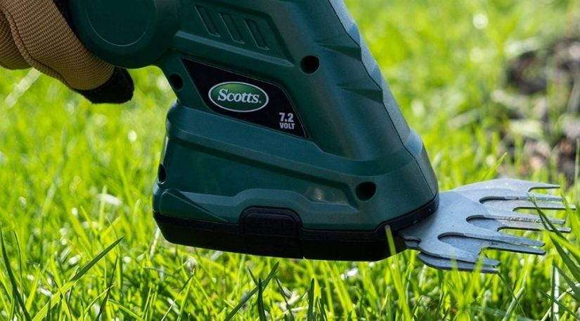 An image of Scotts Outdoor Power Tools LSS10172S 7.2-Volt Lithium-Ion Cordless Grass, one of the best cordless grass shears model in use to trim grass in a yard