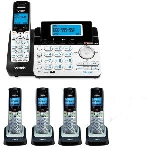A representation of VTech DS6151 2-Line Expandable Cordless Phone topped up with four additional handsets for more convenience making it an exclusive member of the best VTech cordless phone