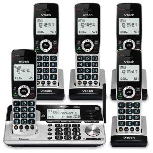 A repesentation of one of the best VTech cordless phone that includes five handsets of VTech VS113-5 Extended Range 5 Handset Cordless Phone that bear large keys on a backlit keyboard