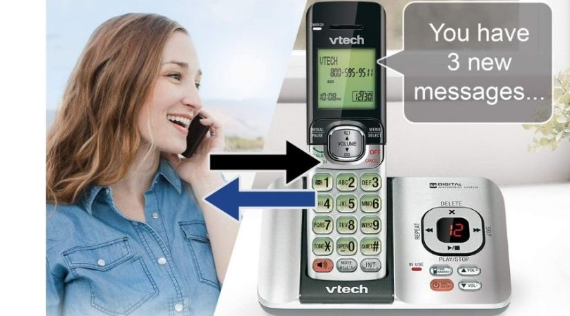 Above is a picture of VTech CS6529-3 3-Handset Expandable Cordless Phone displaying three new notifications in a large font for visibility and has a lady on a call demonstrating the remote access feature ascertaining this model as one of the best VTech cordless phone