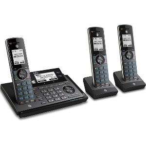 This is a representation of AT&T CLP99387 DECT 6.0 Expandable Cordless Phone, a metallic blue system accompanied by 3 handsets and also possesses the smart call block blocker feature, traits that propel it into being one of the best at&t cordless phone models