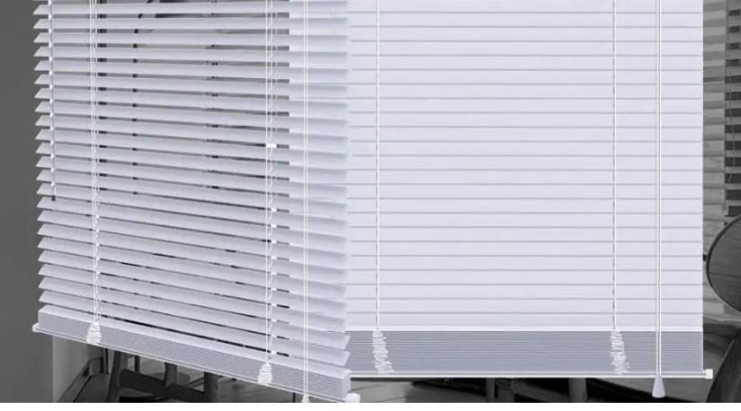 "An example of a corded mini blind, SEEYE Horizontal Venetian Slat Light Filtering Mini Window Blinds Cellular Shade Anti-UV Aluminum Easy to Install 22"" W x 64"" L"